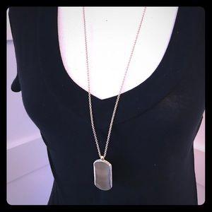 "Banana Republic gold ""tag"" necklace w/rhinestones"